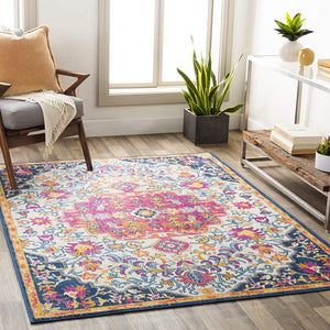 Carldale Distressed Ivory Pink Soft Area Rug
