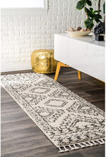 Moroccan Tribal Off White Grey Shag Soft Plush Area Rug