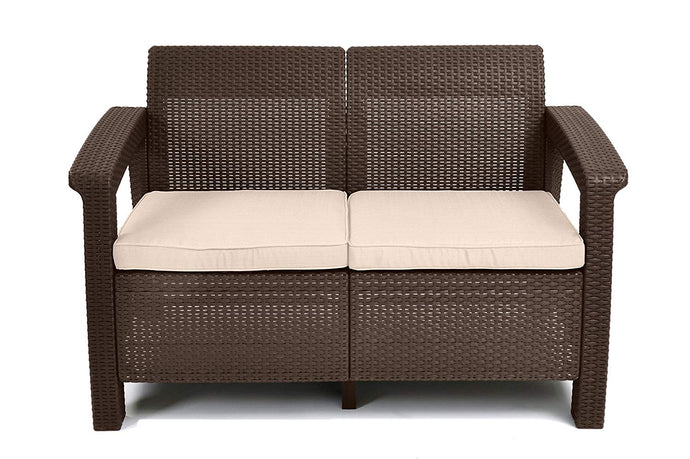 All Weather Indoor Outdoor Patio Love Seat With Cushions