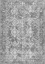 Faded Vintage Floral Damask Distressed Silver Soft Area Rug