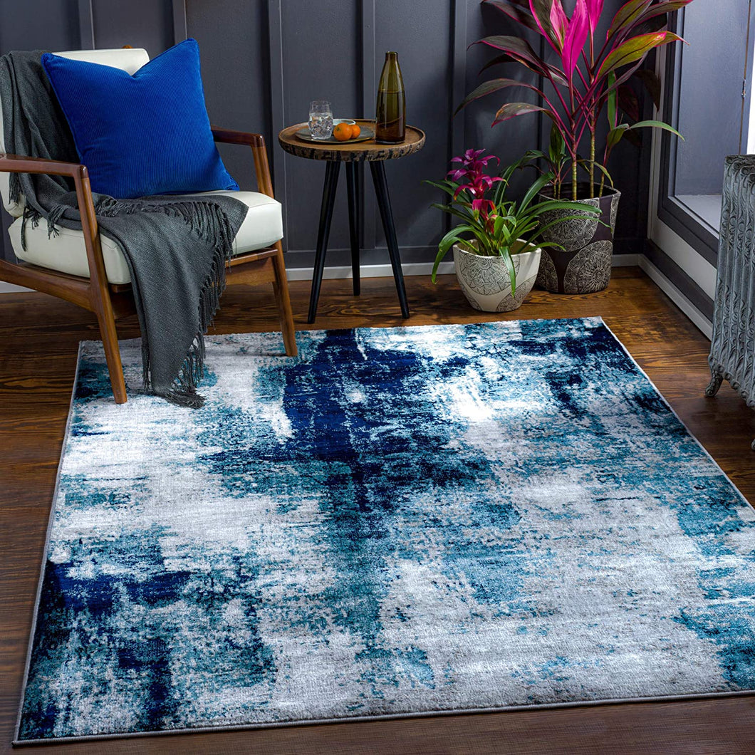 Modern Abstract Area Rug, Black/Navy