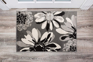 Floral Gray Area Rug