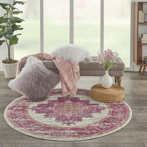 Pink and White Vintage Area Rug, IVORY/FUSHIA
