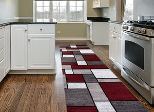 Modern Box Red Gray White Area Rug