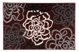 Floral Gray/Grey Burgundy White Area Rug