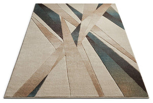 Modern Geometric Soft Blue Beige Comfy Hand Carved Area Rugs