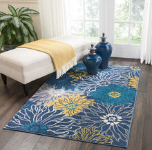 Floral Blue Grey Yellow Soft Area Rug