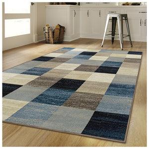 Multi Box Pattern Area Rugs