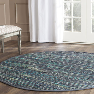 Hand Woven Ink and Multi Cotton Area Rug