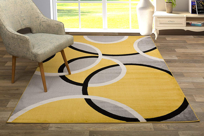 Contemporary Abstract Circles Soft Mustard Yellow Gray Area Rug
