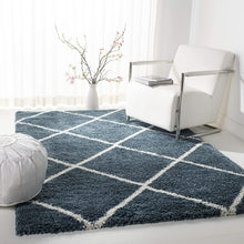 Diamond Trellis Slate Blue/Ivory Soft Plush Shag Area Rug 2-inch Thick