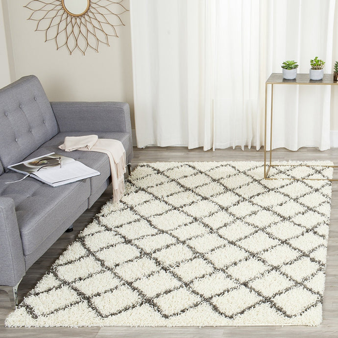 Luxurious Ivory and Dark Grey/Gray Area Rug Shags