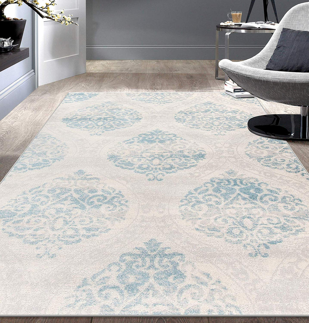 Floral Damask Ivory Gray Light Blue Area Rug Modern Rugs And Decor