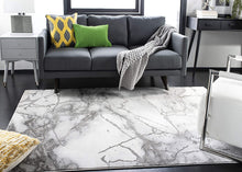 Collection CFT877G Modern Abstract Area Rug,, Grey/Silver
