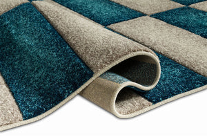 Modern Geometric Blue Beige Comfy Hand Carved Area Rugs