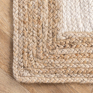 Hand Woven Jute Area Rug Oval, White