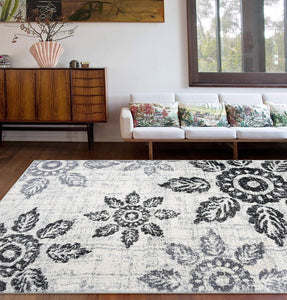 Distressed Floral Soft Ivory Gray Shag Area Rug