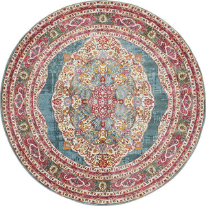 Vintage Traditional Turquoise Red Violet Area Rugs