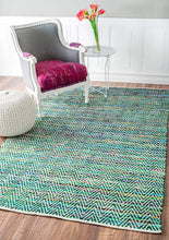 Handwoven Chevron Pattern Soft Green Texture Area Rug