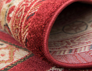 Tribal Pattern Rust Red Soft Area Rug