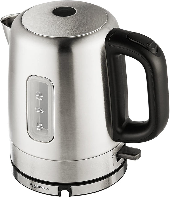 Stainless Steel Portable Fast, Electric Hot Water Kettle for Tea and Coffee, 1 Liter, Silver