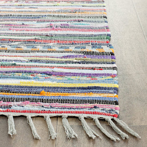 Hand-Woven Grey and Multi Flatweave Cotton Area