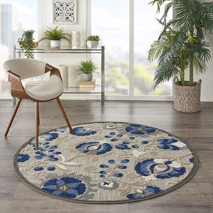 Indoor/Outdoor Floral Natural/Blue Area Rug