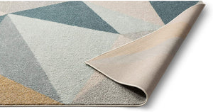 Modern Abstract Triangles Blue Gold Grey Soft Area Rug