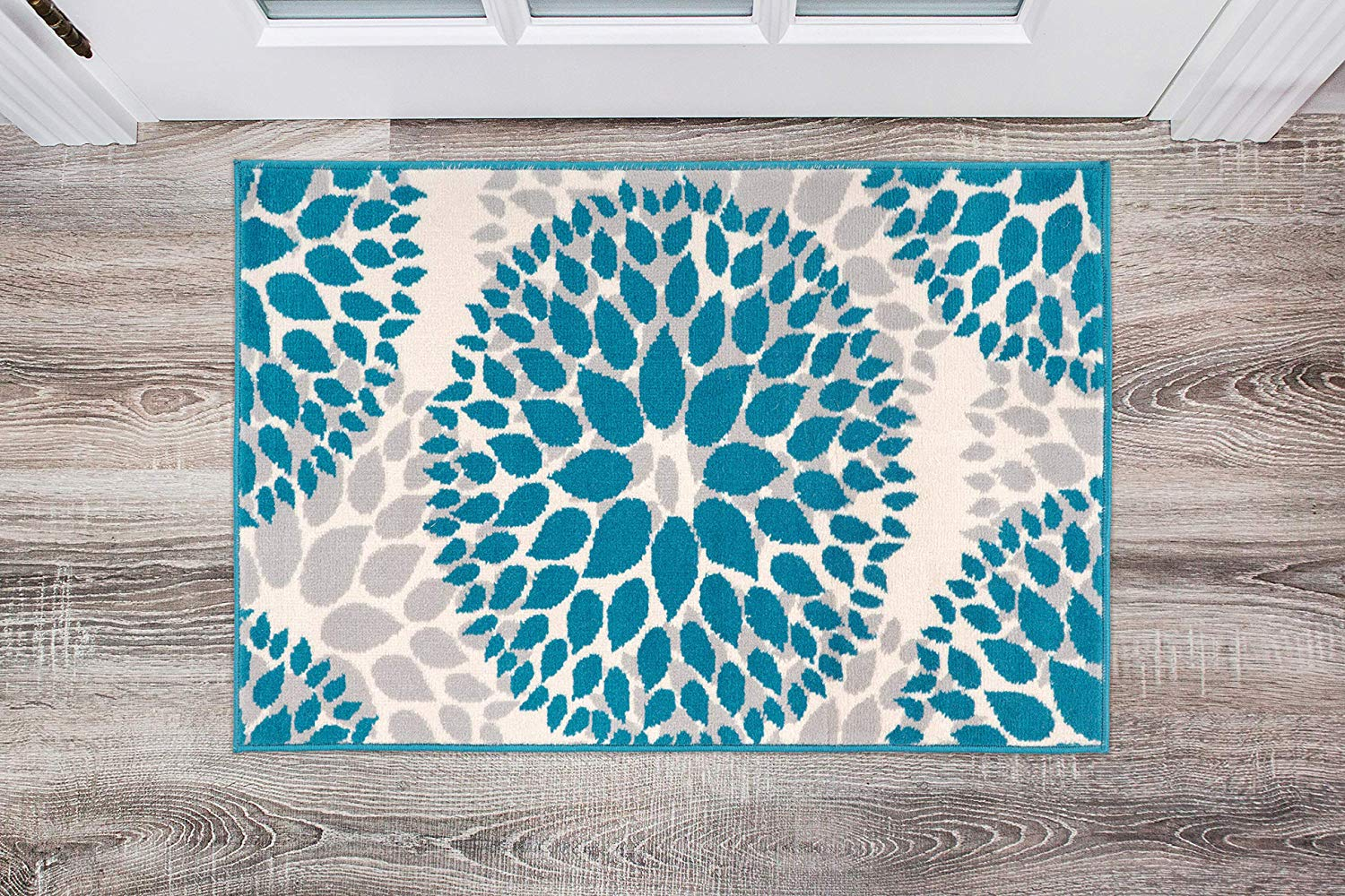 Floral Gray Grey Turquoise Blue Area Rug Modern Rugs And