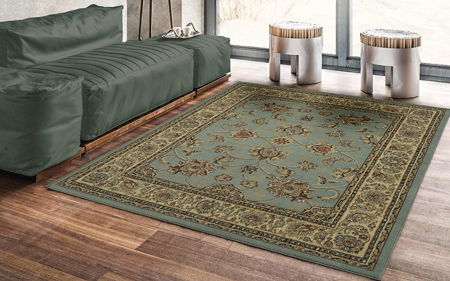 Traditional Sage Green Floral Area Rug Modern Rugs And Decor