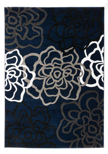 Floral Navy Grey White Area Rug
