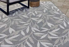 Grey Leaf Tropical Indoor Outdoor Patio Area Rug