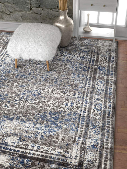 Modern Distressed Persian Design Grey Blue Area Rug