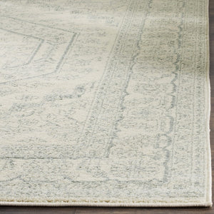Oriental Vintage Distressed Medallion Ivory/Slate Soft Area Rug