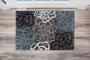 Floral Gray Blue Area Rug