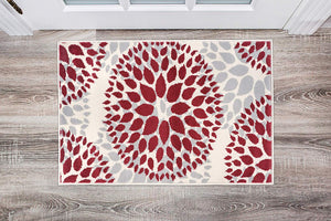 Floral Gray/Grey Red Area Rug