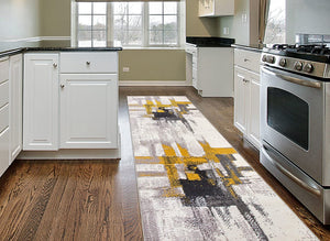 Abstract Gold Gray Ivory Area Rug