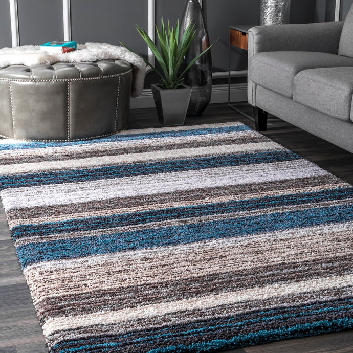 Premium Handmade Striped Blue Gray Plush Shag Area Rugs