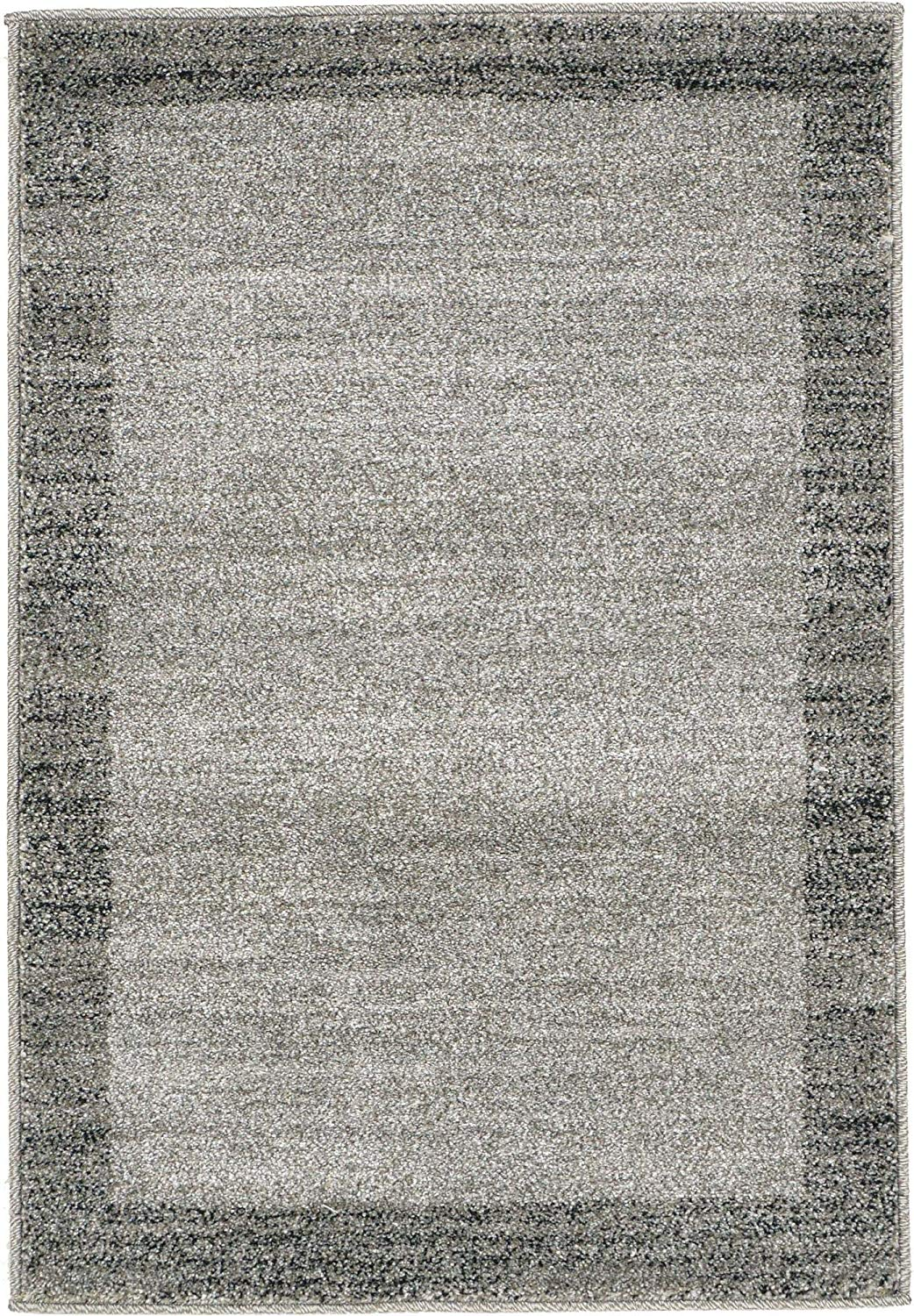 Contemporary Bordered Soft Light Gray Area Rug
