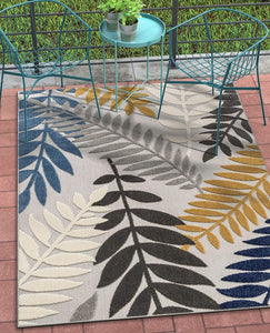 Floral Gray Multi High Traffic Stain Resistant Indoor Outdoor Area Rug