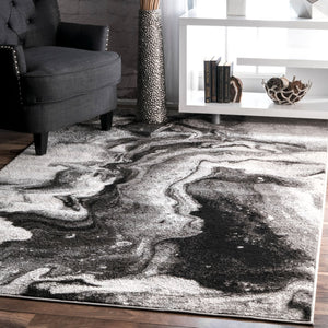 Abstract Grey Soft Area Rugs