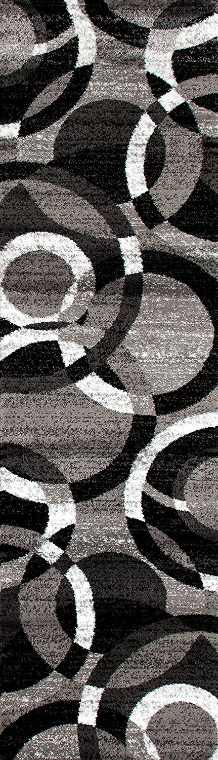 Gray Black White Circles Area Rug Modern Rugs And Decor