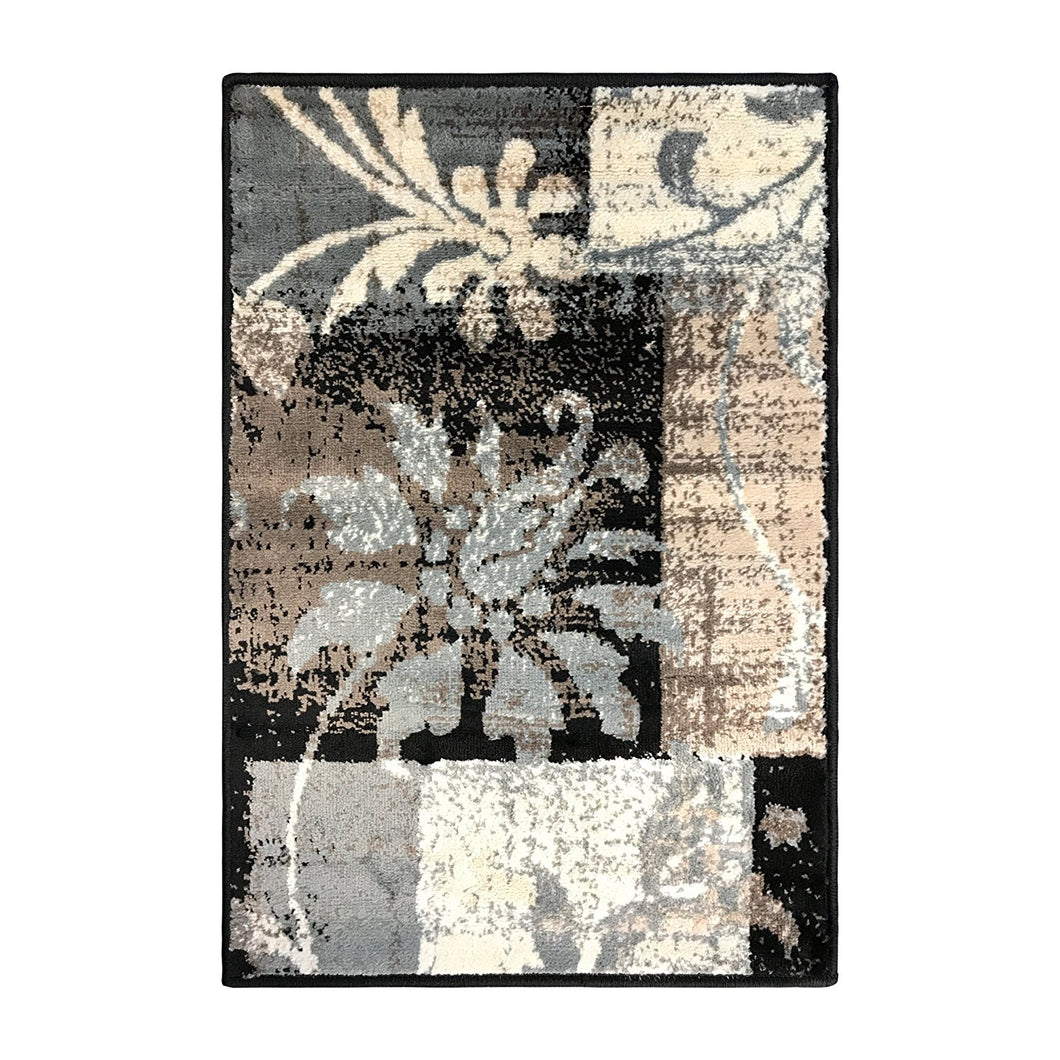 Floral Patchwork Design Brown Ivory Area Rug