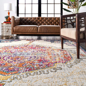 Vintage Medallion Floral Multi Soft Area Rug