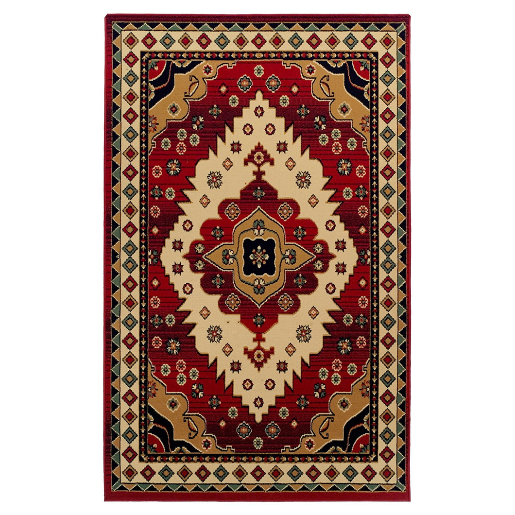 Southwest Style Bordered Red Black Area Rug