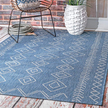 Moroccan Tribal Accent Blue Indoor/Outdoor Area Rugs - Durable/Easy Maintenance