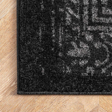 Distressed Vintage Black Soft Area Rug