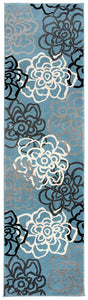 Floral Grey Blue Area Rug