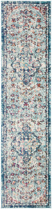 Boho Chic Vintage Medallion Distressed Runner,  Navy/Light Blue