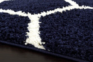 Cozy Geometric Shag Navy Area Rug